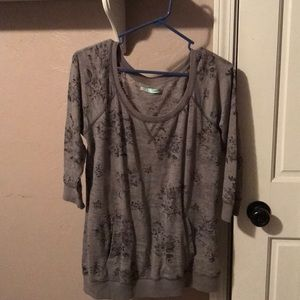 Maurices distressed floral print sweat shirt